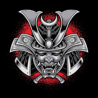 Oni mask with samurai armor isolated on black