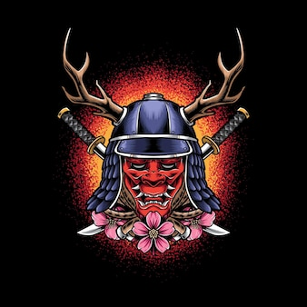 Oni mask with samurai helmet isolated on black
