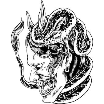 뱀 실루엣이 있는 오니 마스크