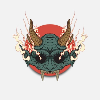 Oni masks of japanese demons and monsters