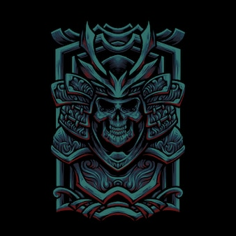 Oni samurai skull head illustration