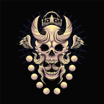Oni skull illustration with ornament. suitable for t shirt, print, and merchandise products