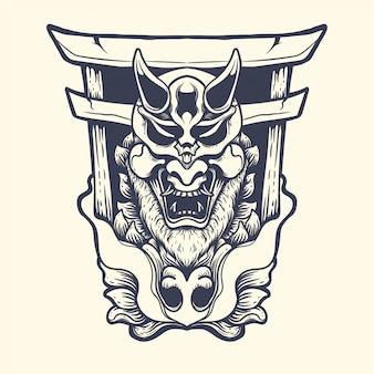 일본 지옥 문 잉크 일러스트와 함께 오니