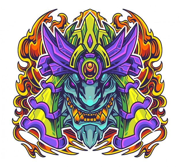 Oni самурай голова талисман логотип