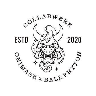 Oni маска мяч фитон линии логотип значок иллюстрации