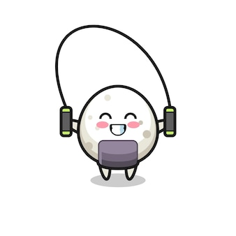 Onigiri character cartoon with skipping rope , cute style design for t shirt, sticker, logo element