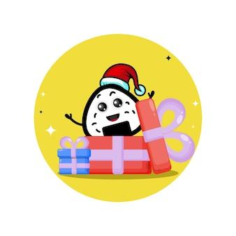 Онигири рождественский подарок милый персонаж логотип