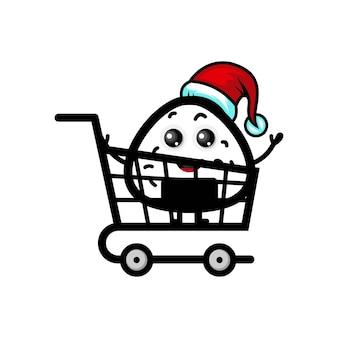Онигири рождественские покупки милый персонаж логотип