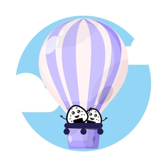 おにぎり熱気球かわいいキャラクター