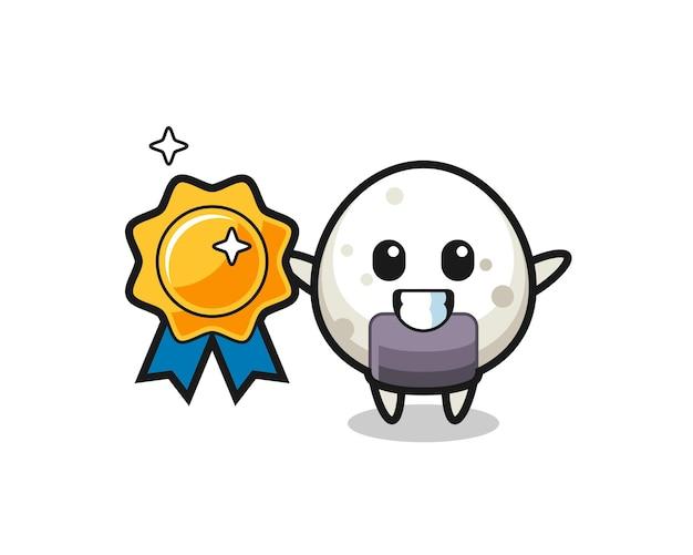 Onigiri mascot illustration holding a golden badge , cute style design for t shirt, sticker, logo element