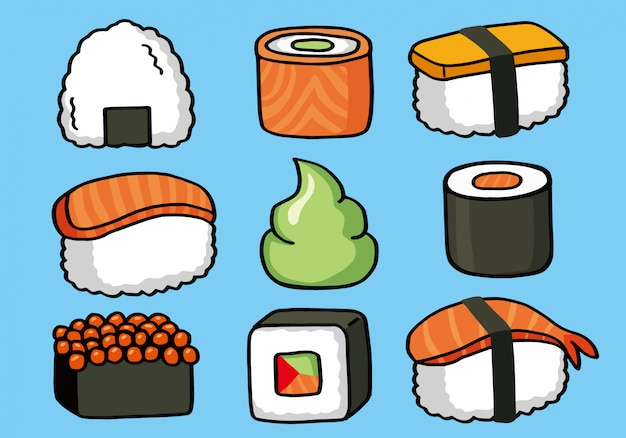 Onigiri and sushi seamless doodle pattern