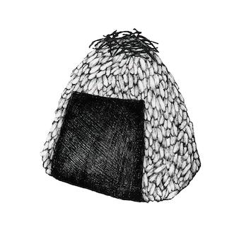 Рисованный шарик для рисования onigiri