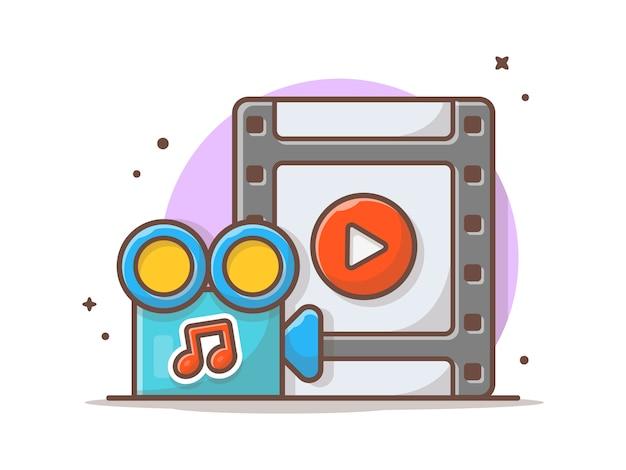 再生ボタンと音楽のメモを使用したミュージックビデオのストリーミング。分離されたonilneストリーミングホワイト