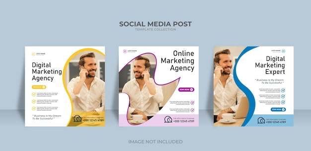 Onine marketing agency social media post template