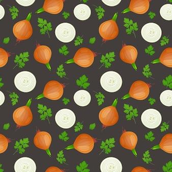 Луковая лампочка с зеленым ростком и ломтиком, изолированные на темном фоне. спелый лук с листьями петрушки. бесшовные модели.