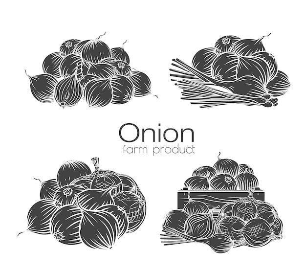 Луковые луковицы глифов монохромные иллюстрации