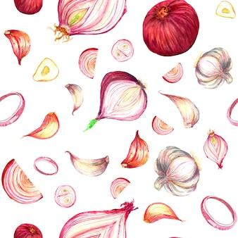 Onion and garlic sliced seamless pattern,