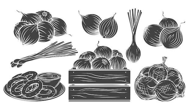 양파 흑백 아이콘 설정 아름 다운 그림