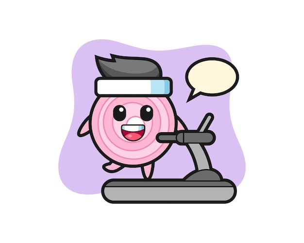 Onion rings cartoon character walking on the treadmill, cute style design for t shirt, sticker, logo element