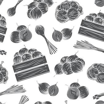 양파 원활한 패턴 흑백 문양입니다. 수확 야채 새겨진 스타일 일러스트