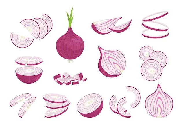 Набор репчатого лука в различных нарезках. целые и нарезанные ломтиками пурпурные овощи для заправки и запекания, а также нарезанные тонкими кольцами для салата и украшения из натурального здорового и натурального рациона. вектор спелый урожай.