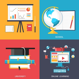 Online and academic school variations concept backgrounds in retro flat style design