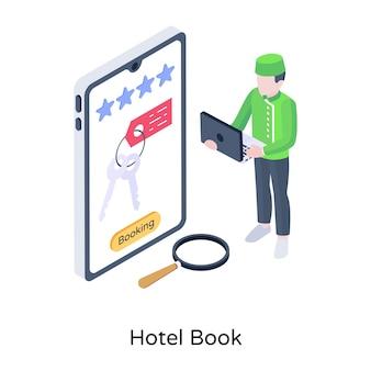 Online accommodation isometric illustration of hotel book