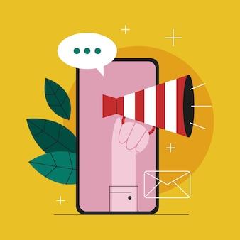 온라인 광고 개념. 마케팅 캠페인. 상업 광고 및 고객 아이디어와의 커뮤니케이션. 삽화