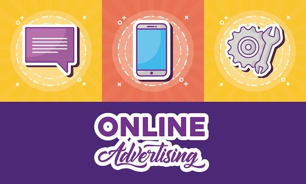 Дизайн интернет-рекламы со связанными значками