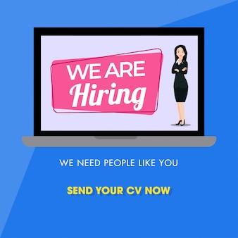Online advertising job vacancy from businesswoman
