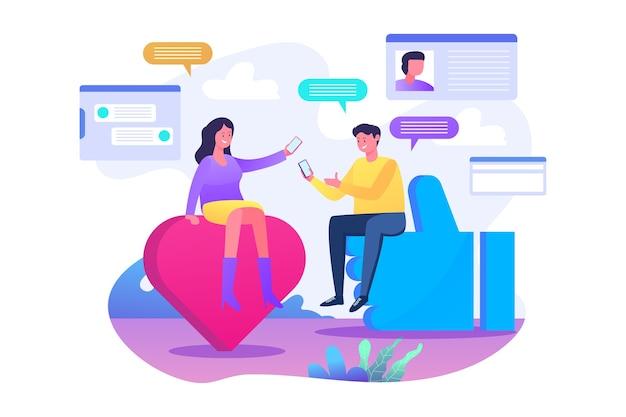 オンライン広告、ソーシャルメディアマーケティング、オンラインチャット、ソーシャルメディア共有、ソーシャルメディアフラットイラストコンセプト