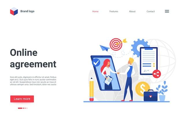 Online agreement landing page, partner people shaking hands, business partnership