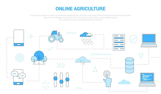Online agriculture concept with scattered and interconnected icons with blue color