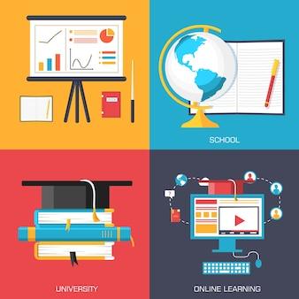 Онлайн-и академические школьные вариации концептуальных фонов в ретро-плоском дизайне