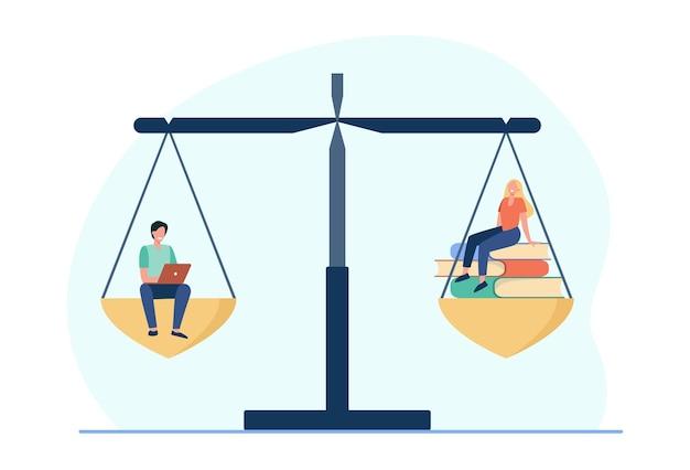 Сравнение онлайн и офлайн обучения. студенты с ноутбуком или стопкой книг на весах. иллюстрации шаржа
