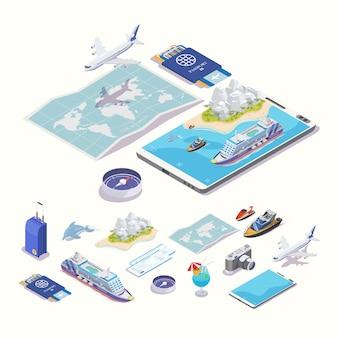 オンラインアプリの旅行と観光。等角投影図。