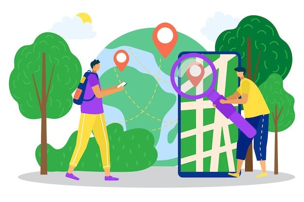 地図付きのオンラインアプリ、位置アイコン付きのモバイルアプリケーション、ベクトルイラスト、人のキャラクターはスマートフォンサービスの概念を使用します。