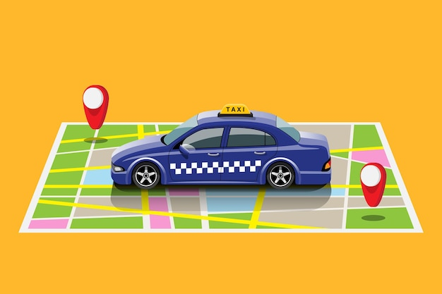 Online application for call taxi service by smart phone and set location for destination and location for taxi driver