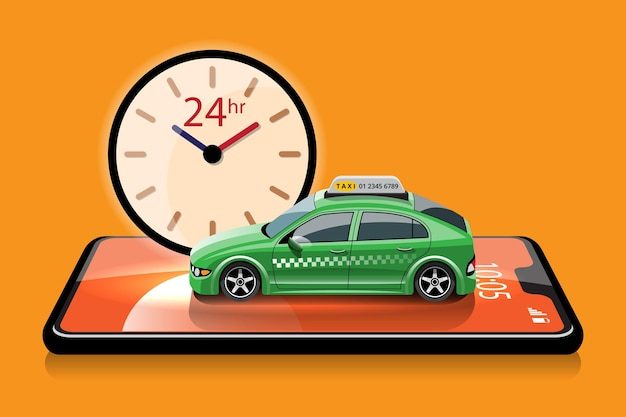 Online application for call taxi service by smart phone and set location for destination