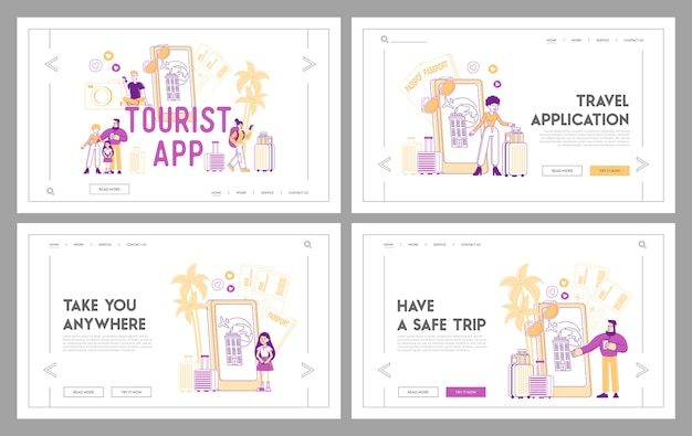 Online application for tourism and traveling landing page template set
