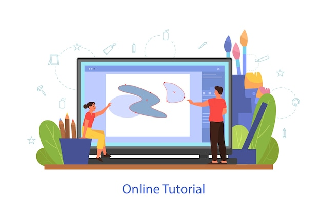 Online art tutorial concept. distance study, art class. people learning to draw in digital program online. vector illustration in cartoon style