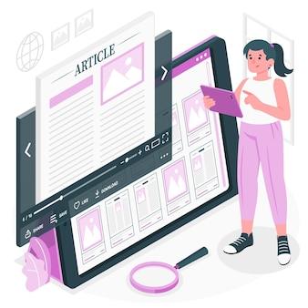 Illustrazione di concetto di articolo online