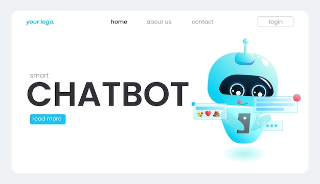 An online assistant bot on a landing page template. the technical support design for a web page. a virtual help website.  landing page