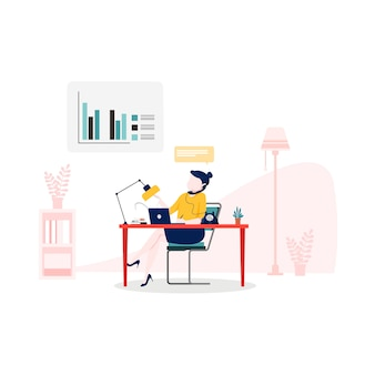 Online assistant illustration in flat style
