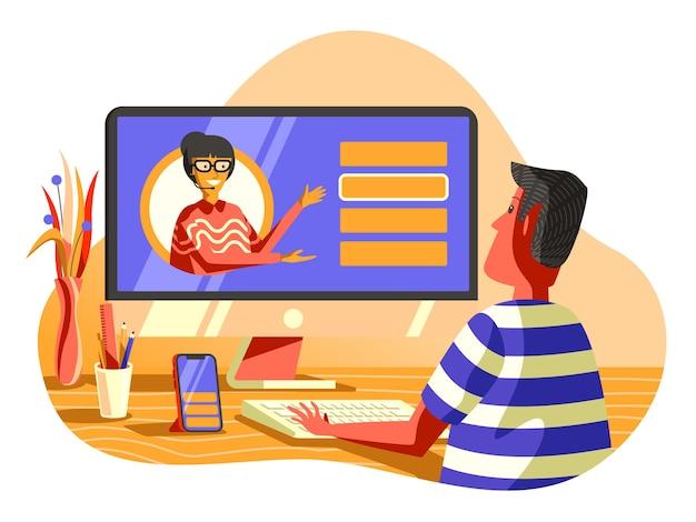 Online assistant  illustration, helping customer via video call.