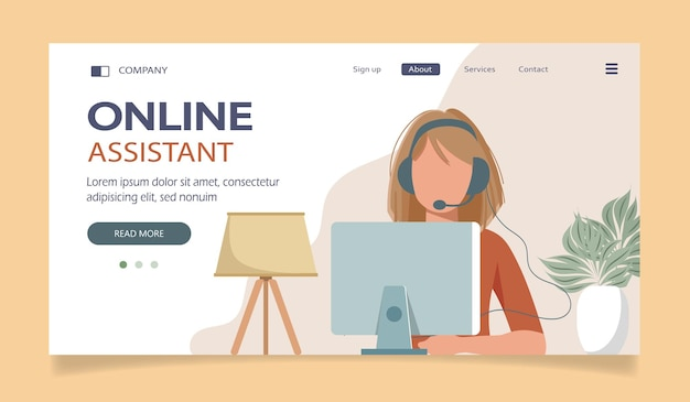 Online assistant landing page