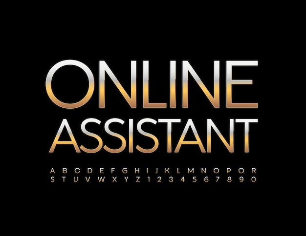 Online assistant metallic gold font elite alphabet letters and numbers set