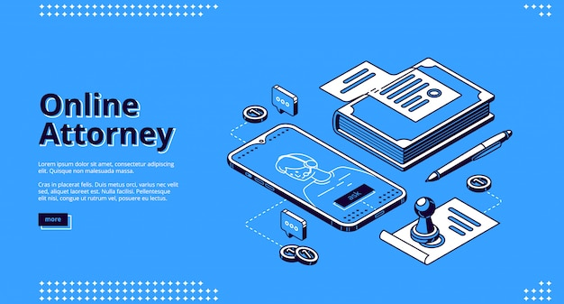 Online attorney service isometric landing page