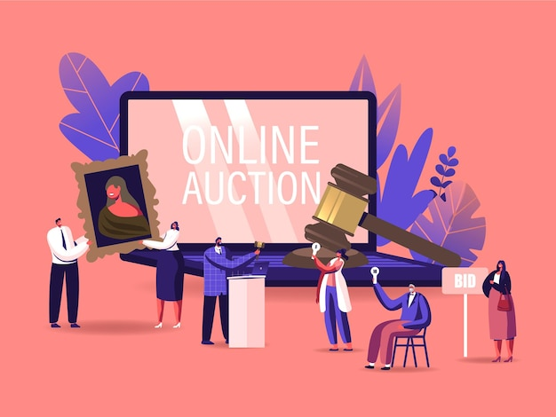 Online auction concept. auctioneer, people collectors buying assets in internet.