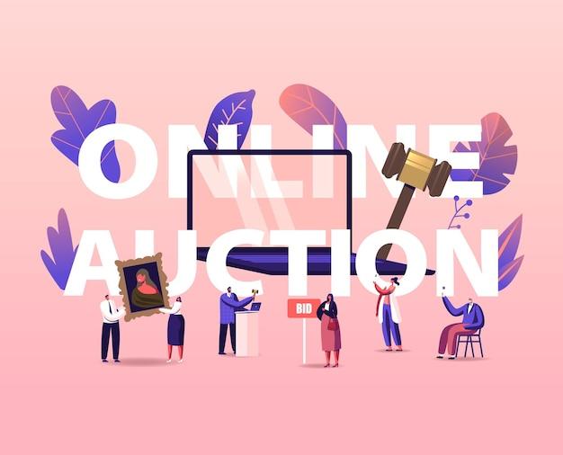 온라인 경매 개념. 인터넷에서 자산을 구매하는 사람들. 거대한 노트북 주변의 작은 남성 및 여성 캐릭터